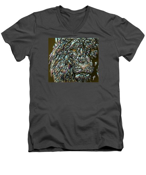 Chrome Lion Men's V-Neck T-Shirt by Darren Cannell