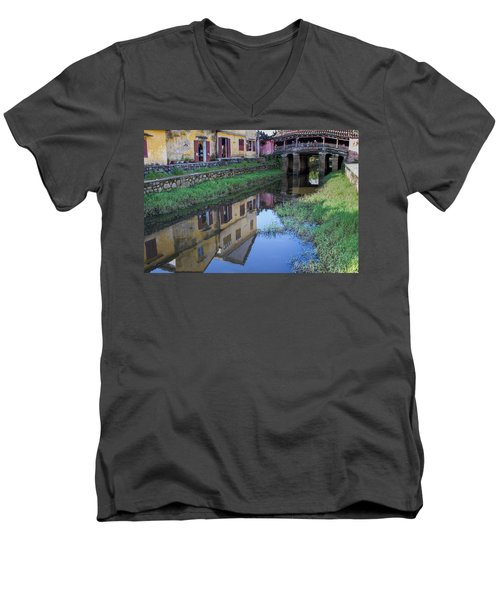 Men's V-Neck T-Shirt featuring the photograph Chua Cau Reflection by Hitendra SINKAR