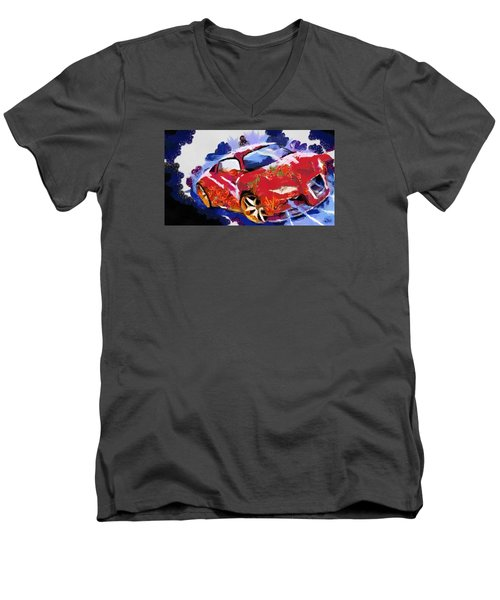 Men's V-Neck T-Shirt featuring the painting Chubby Car Red by Catherine Lott