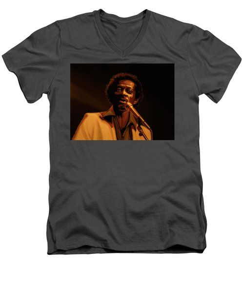 Chuck Berry Gold Men's V-Neck T-Shirt by Paul Meijering