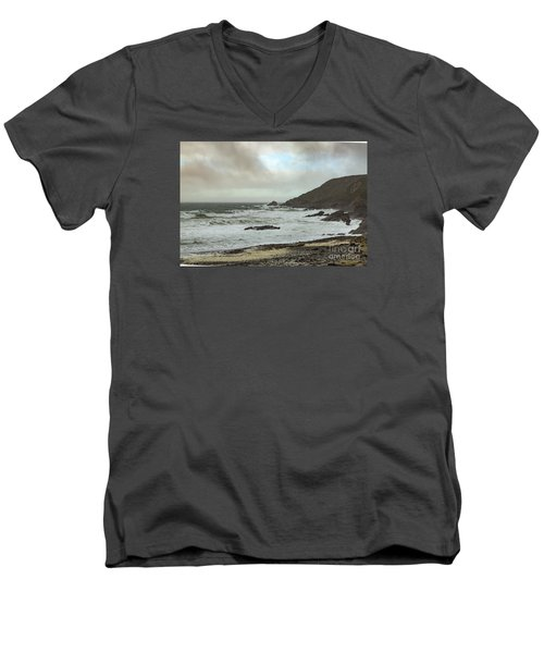 Men's V-Neck T-Shirt featuring the photograph Church Cove Gunwallow by Brian Roscorla