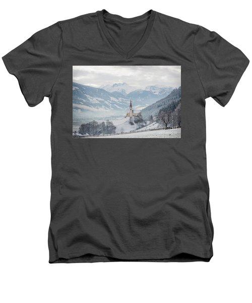 Church In Alpine Zillertal Valley In Winter Men's V-Neck T-Shirt