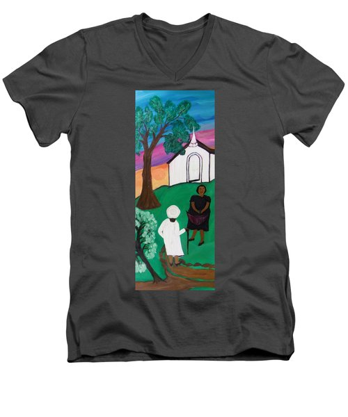 Men's V-Neck T-Shirt featuring the painting Church Ladies  by Mildred Chatman