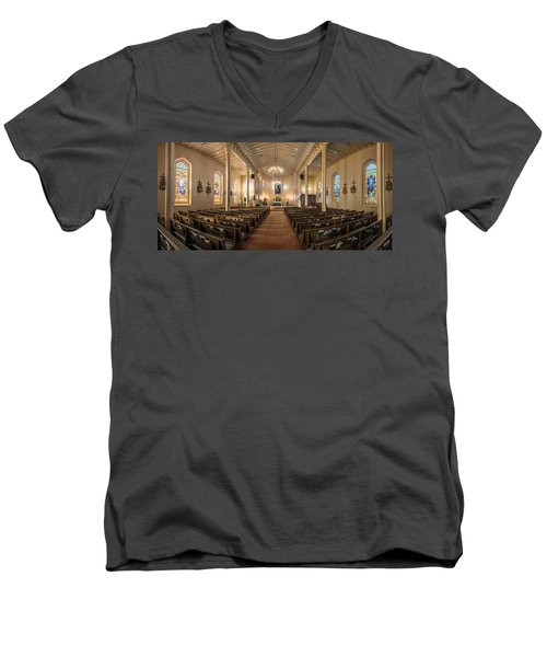 Men's V-Neck T-Shirt featuring the photograph Church Of The Assumption Of The Blessed Virgin Pano 2 by Andy Crawford