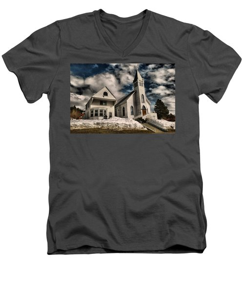 Men's V-Neck T-Shirt featuring the photograph Church Of The Immaculate Conception Roslyn Wa by Jeff Swan
