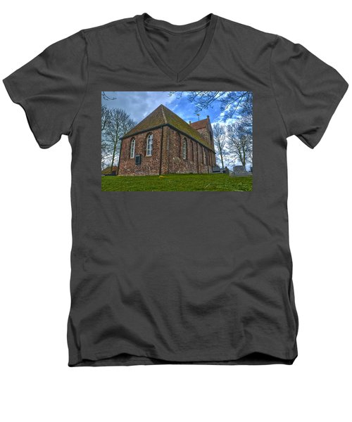 Church On The Mound Of Oostum Men's V-Neck T-Shirt by Frans Blok