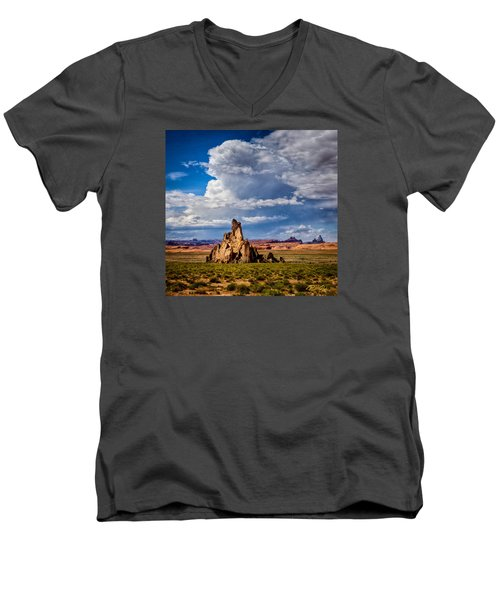 Men's V-Neck T-Shirt featuring the photograph Church Rock Thunderhead by Rikk Flohr