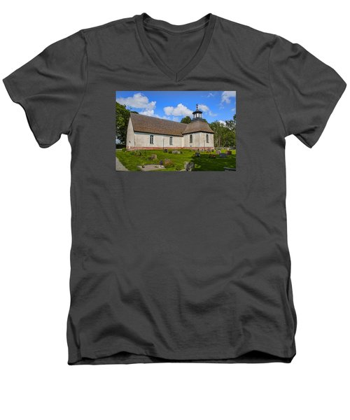 Men's V-Neck T-Shirt featuring the photograph Church Teda Sw by Leif Sohlman