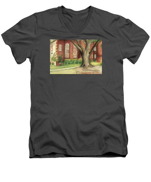 Men's V-Neck T-Shirt featuring the painting Church Tree by Denise Fulmer