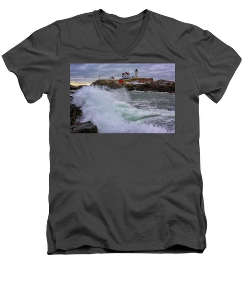 Men's V-Neck T-Shirt featuring the photograph Churning Seas At Cape Neddick by Rick Berk