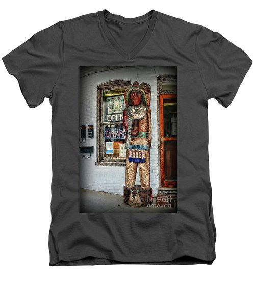 Men's V-Neck T-Shirt featuring the photograph Cigar Store Indian by Paul Ward
