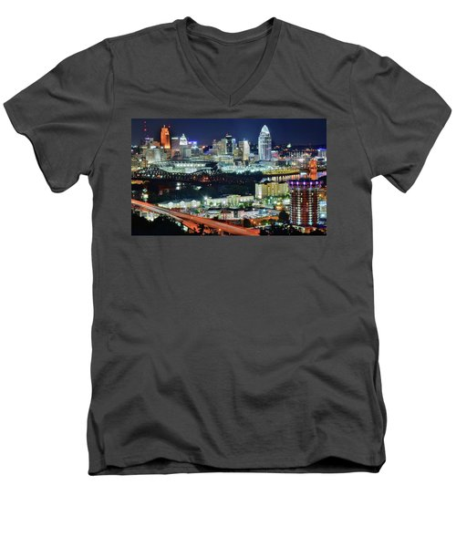Cincinnati And Covington Collide Men's V-Neck T-Shirt