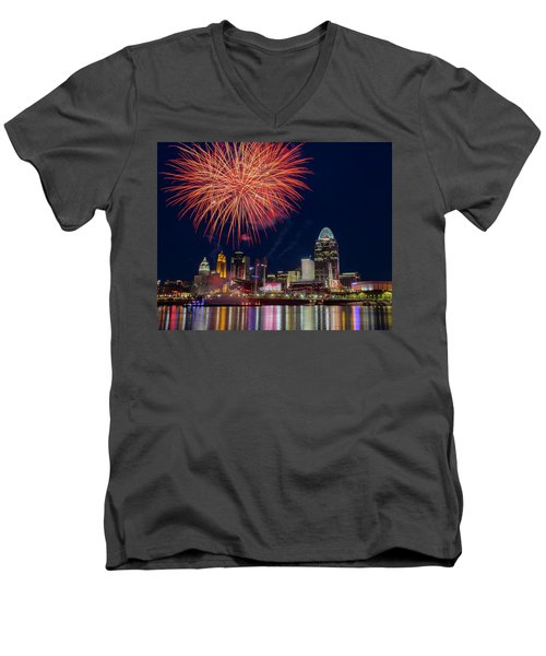 Cincinnati Fireworks Men's V-Neck T-Shirt by Scott Meyer