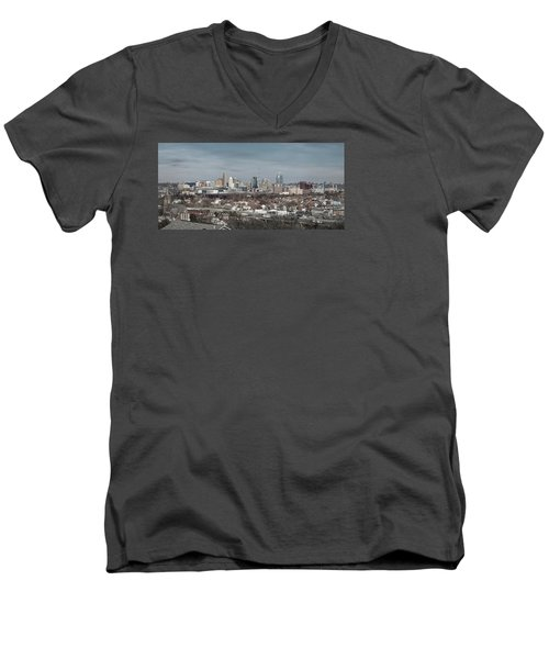 Cincinnati Panorama  Men's V-Neck T-Shirt by Scott Meyer
