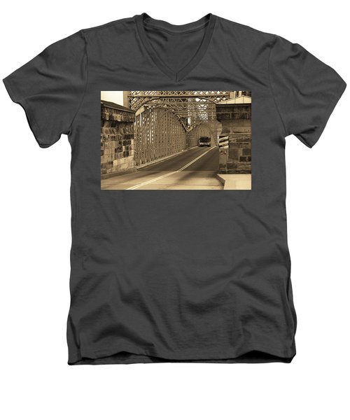 Cincinnati - Roebling Bridge 1 Sepia Men's V-Neck T-Shirt by Frank Romeo