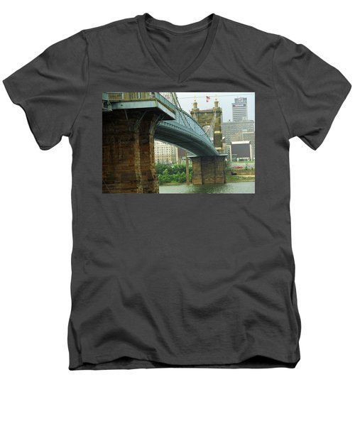 Cincinnati - Roebling Bridge 2 Men's V-Neck T-Shirt by Frank Romeo