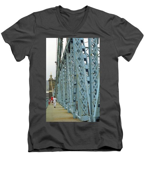 Cincinnati - Roebling Bridge 3 Men's V-Neck T-Shirt by Frank Romeo