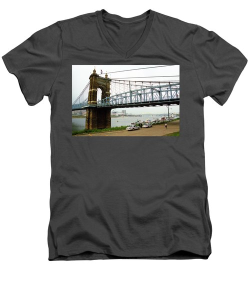 Cincinnati - Roebling Bridge 5 Men's V-Neck T-Shirt by Frank Romeo