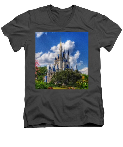Cinderella Castle Summer Day Men's V-Neck T-Shirt by Sandy MacGowan