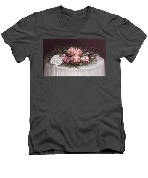 Men's V-Neck T-Shirt featuring the painting Spray Of  Roses by Bonnie Willis