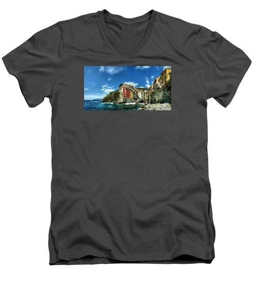 Cinque Terre - View Of Riomaggiore Men's V-Neck T-Shirt