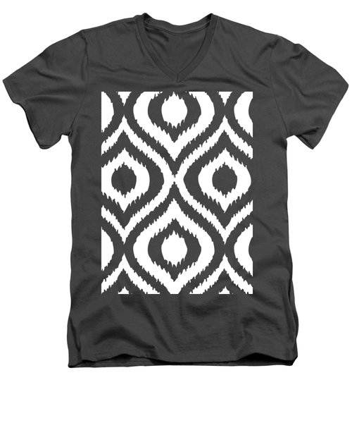 Circle And Oval Ikat In White T02-p0100 Men's V-Neck T-Shirt