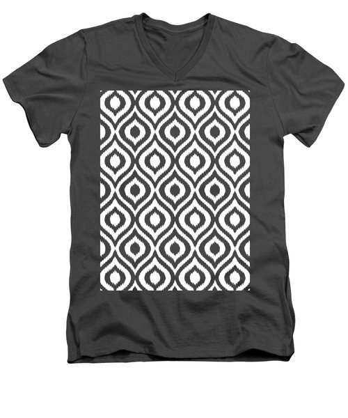 Circle And Oval Ikat In White T05-p0100 Men's V-Neck T-Shirt
