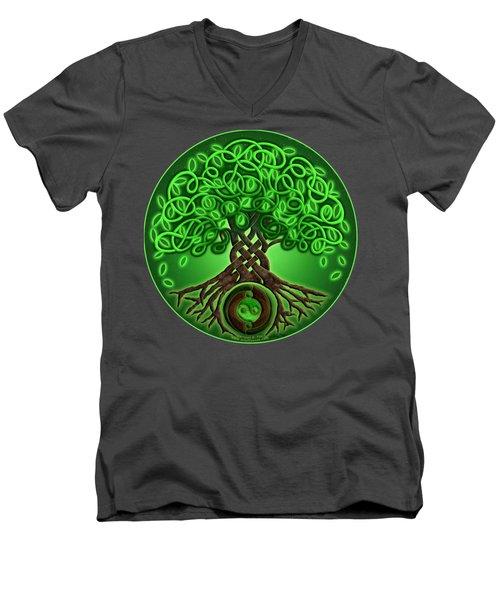 Circle Celtic Tree Of Life Men's V-Neck T-Shirt by Kristen Fox
