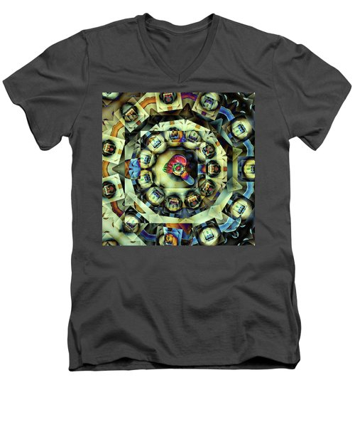 Men's V-Neck T-Shirt featuring the digital art Circled Squares by Ron Bissett