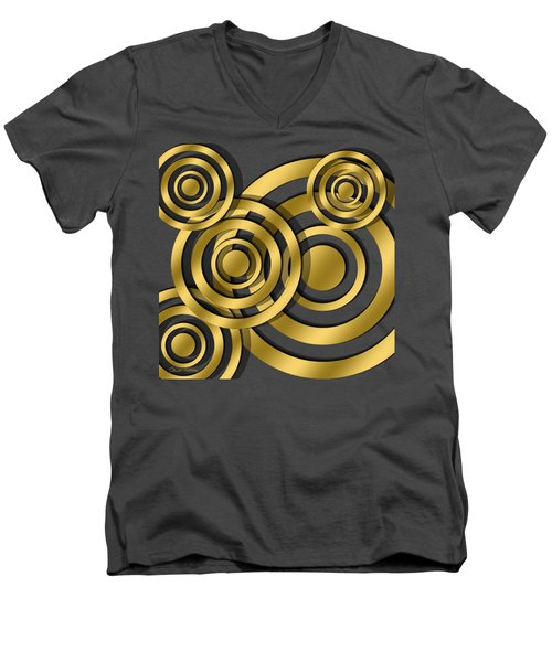 Men's V-Neck T-Shirt featuring the digital art Circles - Chuck Staley Design by Chuck Staley