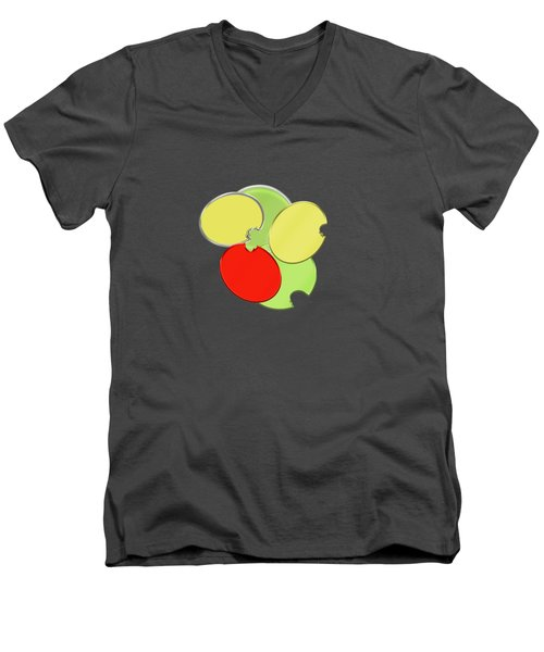 Circles Of Red, Yellow And Green Men's V-Neck T-Shirt