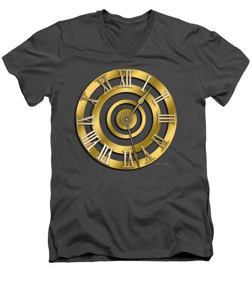Men's V-Neck T-Shirt featuring the digital art Circular Clock Design by Chuck Staley