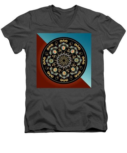 Men's V-Neck T-Shirt featuring the digital art Circularium No 2640 by Alan Bennington