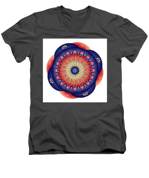 Men's V-Neck T-Shirt featuring the digital art Circularium No 2655 by Alan Bennington