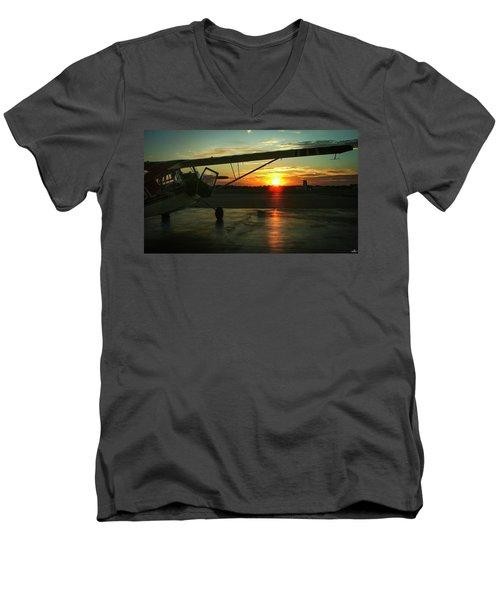 Citabria Peeking Out Of The Hangar Door Men's V-Neck T-Shirt