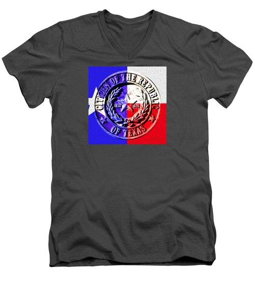 Citizen Of The Republic Of Texas Men's V-Neck T-Shirt by Robert J Sadler
