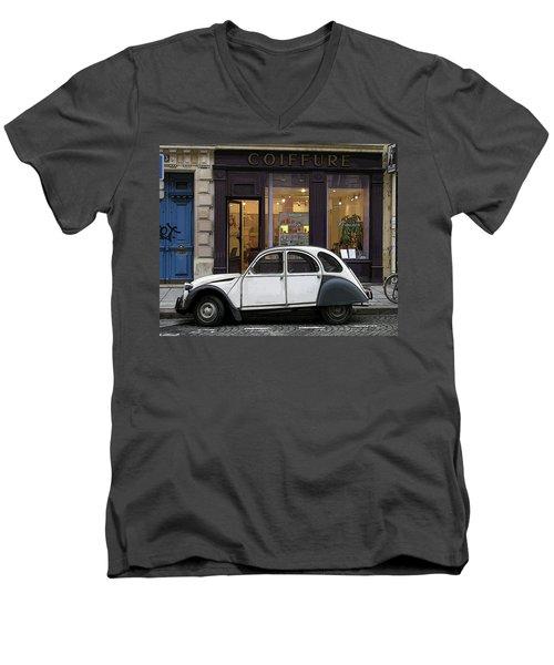 Men's V-Neck T-Shirt featuring the photograph Citroen 2cv by Jim Mathis