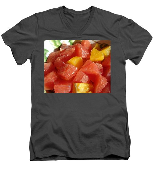 Men's V-Neck T-Shirt featuring the digital art Citrus In Winter by Jana Russon