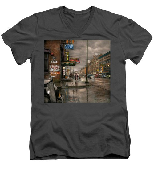 City - Amsterdam Ny -  Call 666 For Taxi 1941 Men's V-Neck T-Shirt