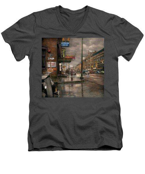 City - Amsterdam Ny -  Call 666 For Taxi 1941 Men's V-Neck T-Shirt