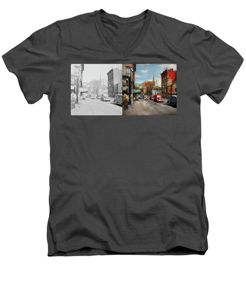 Men's V-Neck T-Shirt featuring the photograph City - Amsterdam Ny - Downtown Amsterdam 1941- Side By Side by Mike Savad