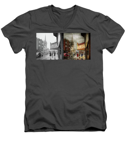 Men's V-Neck T-Shirt featuring the photograph City - Amsterdam Ny - Life Begins 1941 - Side By Side by Mike Savad