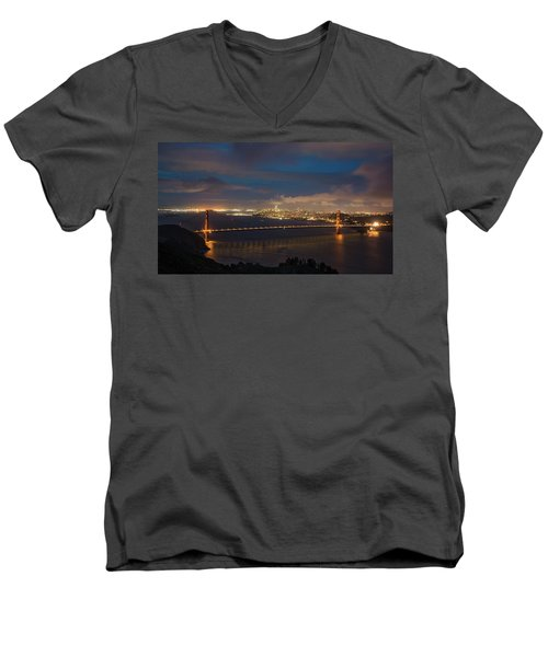 Men's V-Neck T-Shirt featuring the photograph City And The Bridge by Stephen Holst