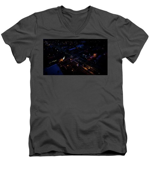 City At Night From Above Men's V-Neck T-Shirt
