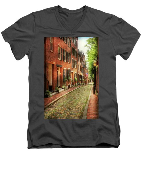 Men's V-Neck T-Shirt featuring the photograph City - Boston Ma - Acorn Street by Mike Savad