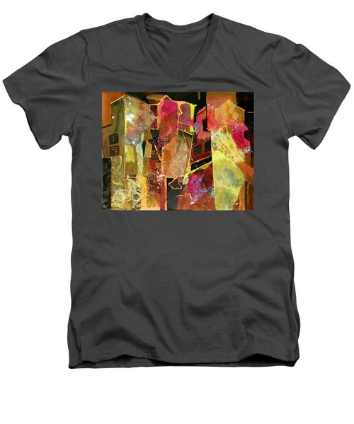 Men's V-Neck T-Shirt featuring the painting City Colors by Rae Andrews