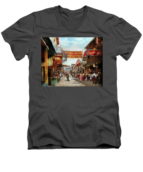 Men's V-Neck T-Shirt featuring the photograph City - Coney Island Ny - Bowery Beer 1903 by Mike Savad