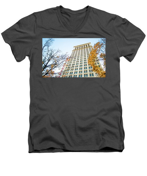 Men's V-Neck T-Shirt featuring the photograph City Federal Building In Autumn - Birmingham, Alabama by Shelby Young