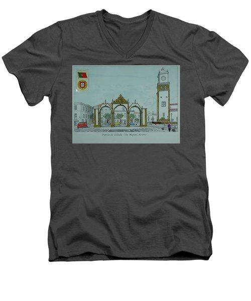 City Gates, San Miguel,azores Men's V-Neck T-Shirt