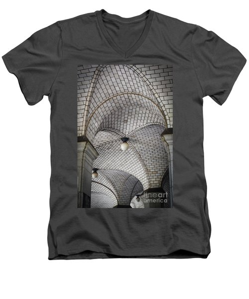Men's V-Neck T-Shirt featuring the photograph City Hall Ceilings by Judy Wolinsky